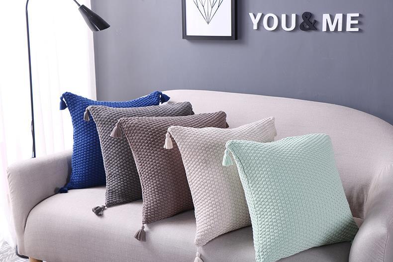 Corner Tassel Knitting Throw Cushion Cover Home Decor