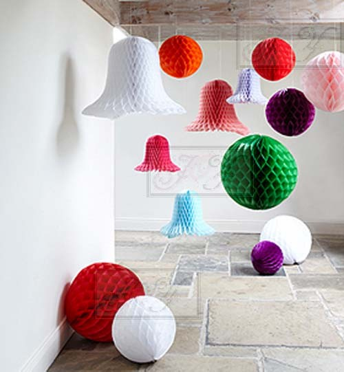 Paper lanterns honeycomb balls for wedding baby shower for Decorative items from waste