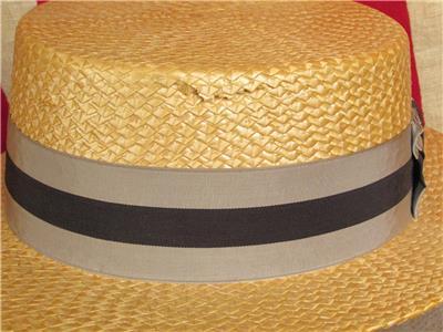 Vintage Dobbs Cappello di Paglia Marinaretta Spettatore Made in ... ce1e2ae54817