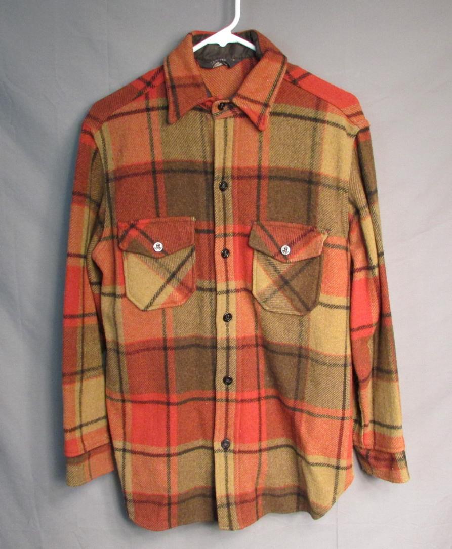1db67e461 Vintage 1960s Sears Roebuck Wool C.P.O. Plaid Shirt Jacket Anchor ...
