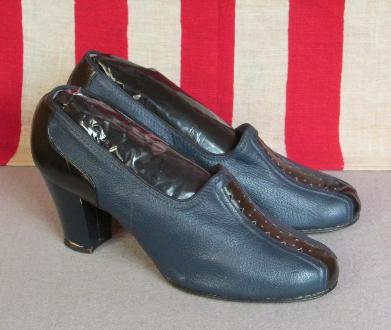 fa19eaeaba90e Details about Vintage 1940s Blue & Black Leather Heels Womens Shoes Pumps  9