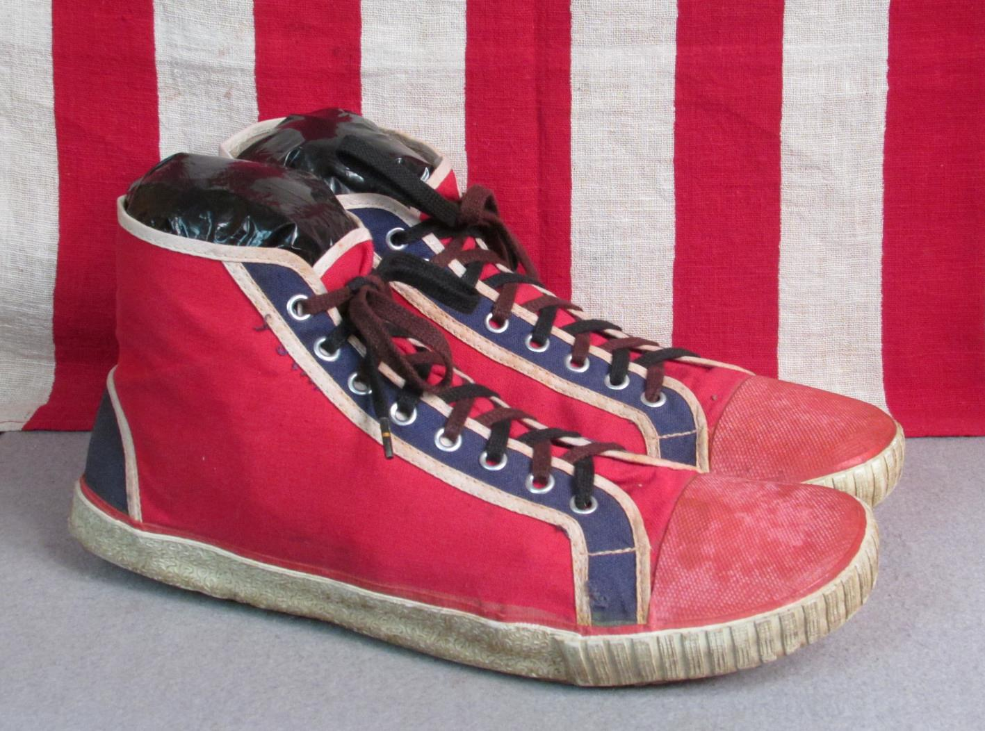 d668e4ced Vintage 1950s Champion Red Blue Wht Canvas Basketball Sneakers Shoes Sz.11  Nice!