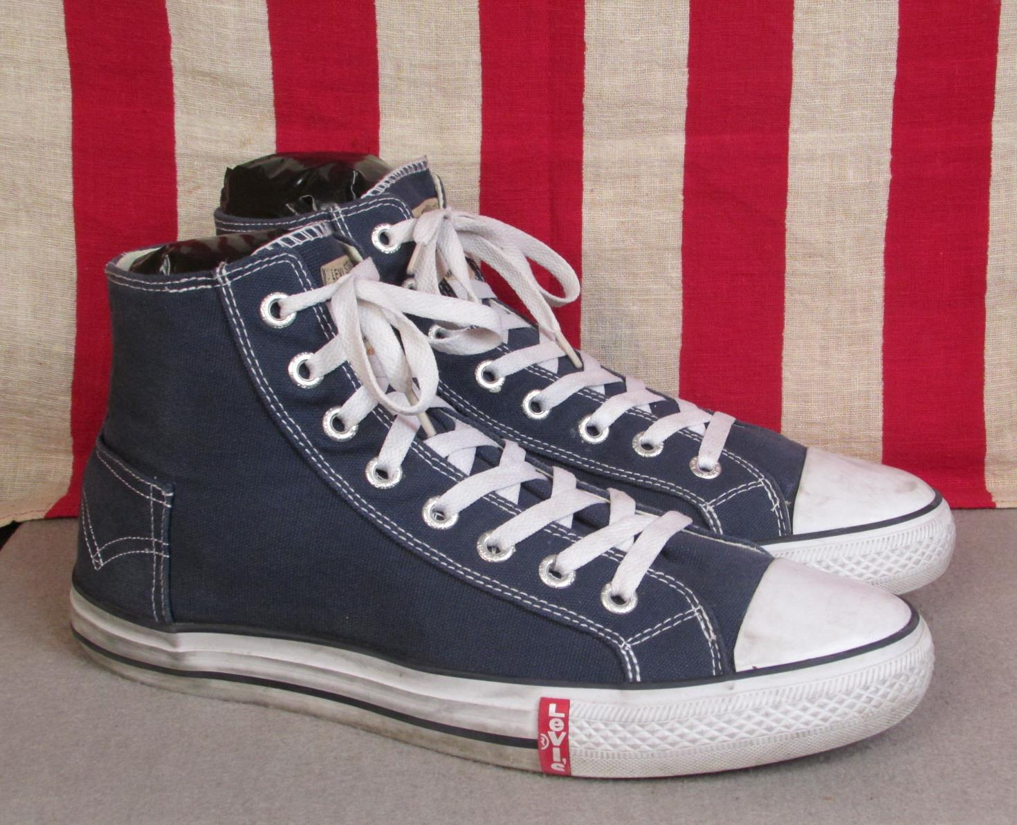 Vintage Levi Strauss  Co.Canvas High-Top Sneakers Pocket Indigo Blue 13  Levis
