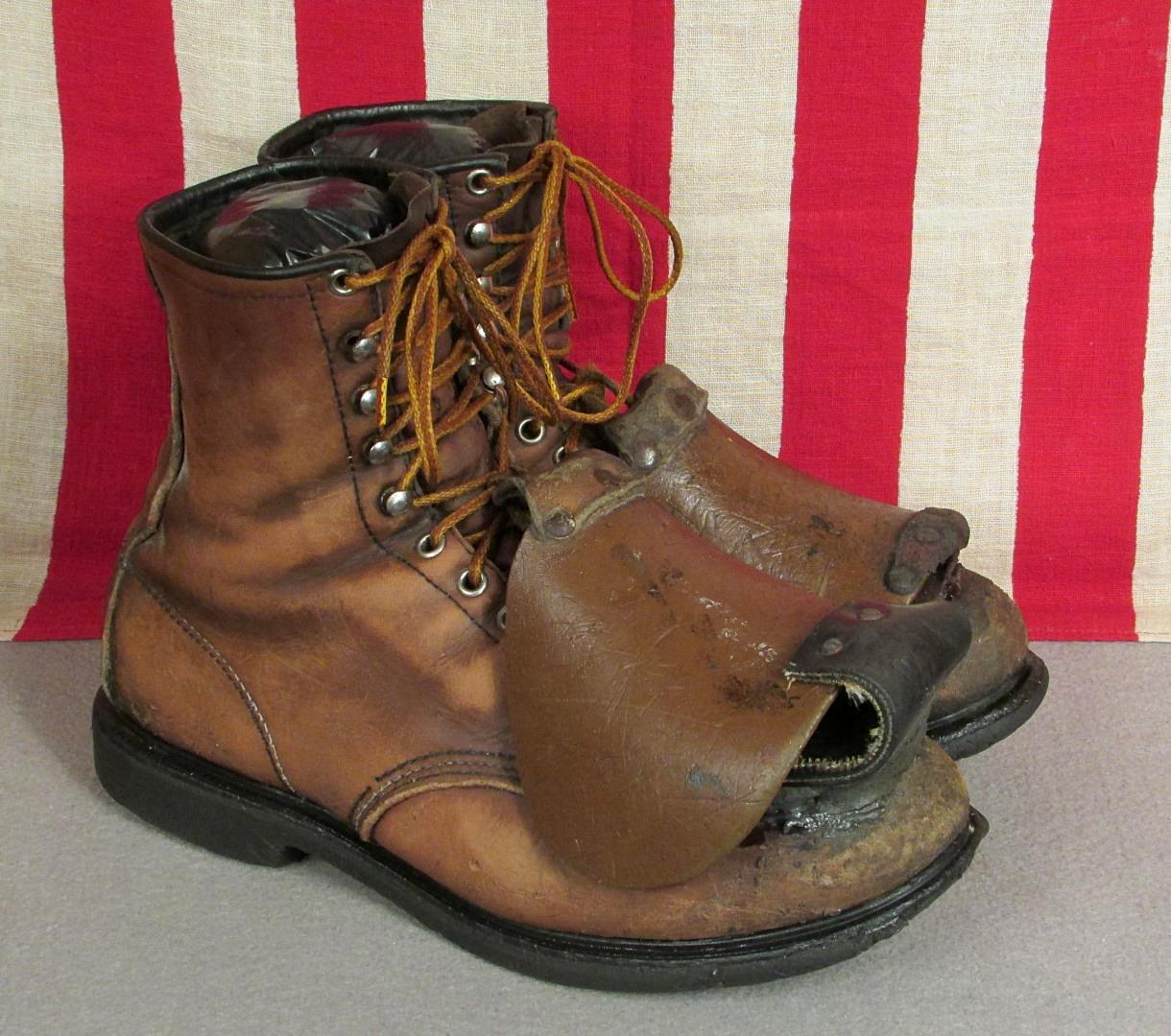 Vintage 1930s Red Wing Leather Miners Boots Work Wear Safety Top Guard Sz.11 | eBay