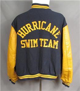 Vintage Hurricane Swim Team Wool Varsity Jacket Leather Sleeves Sz