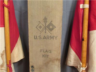 Vintage Wwi Us Army Signal Corps Flag Kit Canvas Bag Flags