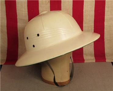 a4788d97f1b16 Vintage WWII US Navy Pith Sun Helmet White Cover Military USN 1940 s  Tropical