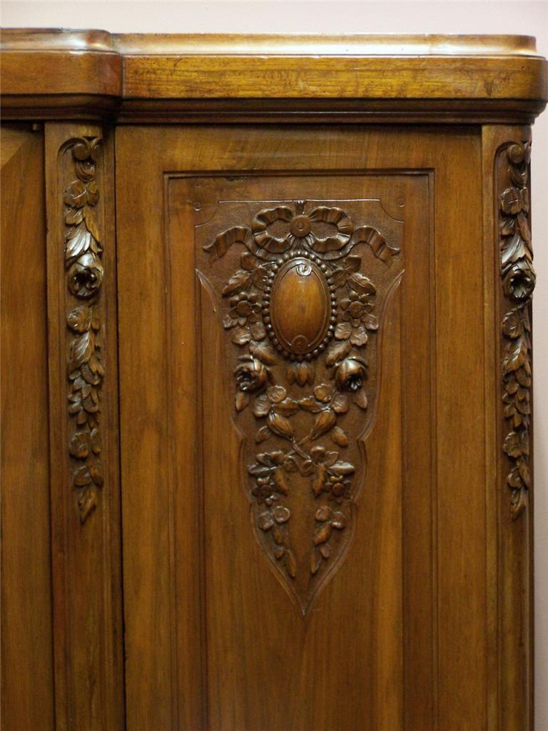 Antique French Art Deco Walnut 3 Door Wardrobe Linen