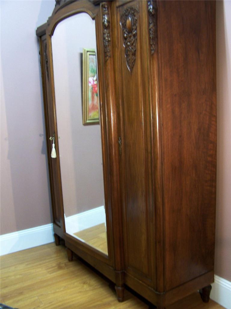 Antique French Art Deco Walnut 3 Door Wardrobe Linen