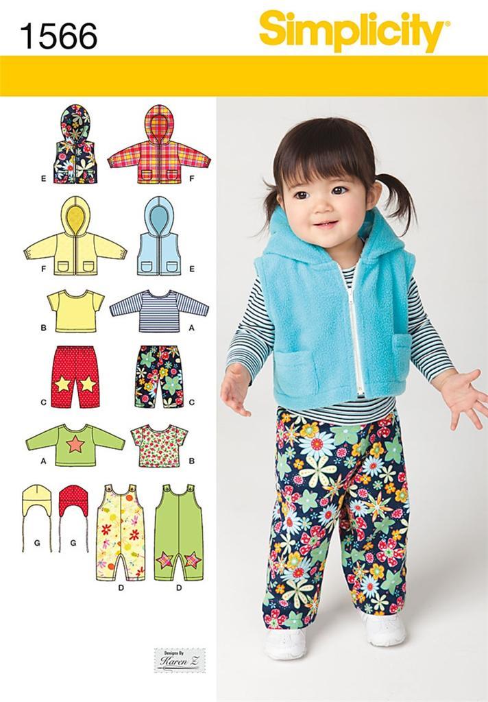 Simplicity 1566 Sewing Pattern Babies Dungaree S Jacket