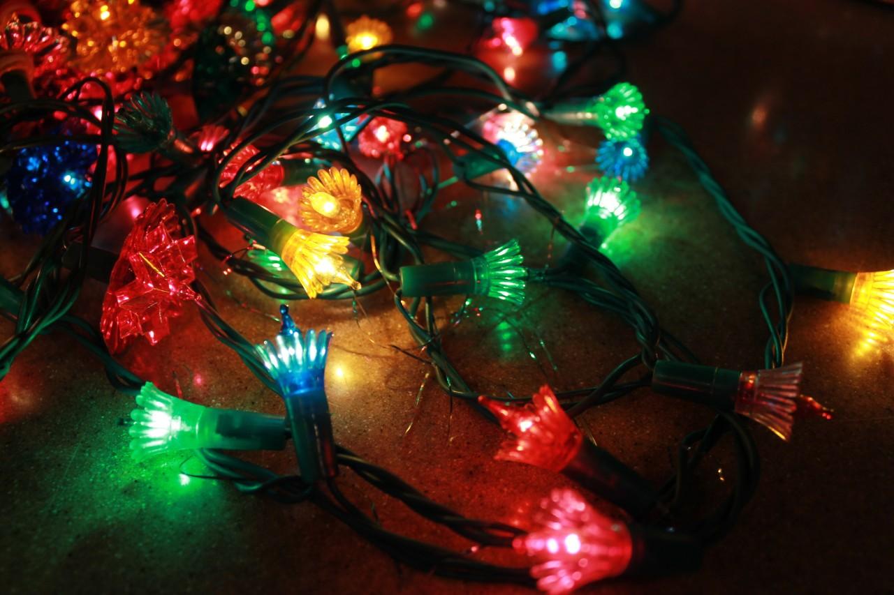 6 35 strand vintage christmas multi colored flower reflector tree lights w box ebay. Black Bedroom Furniture Sets. Home Design Ideas