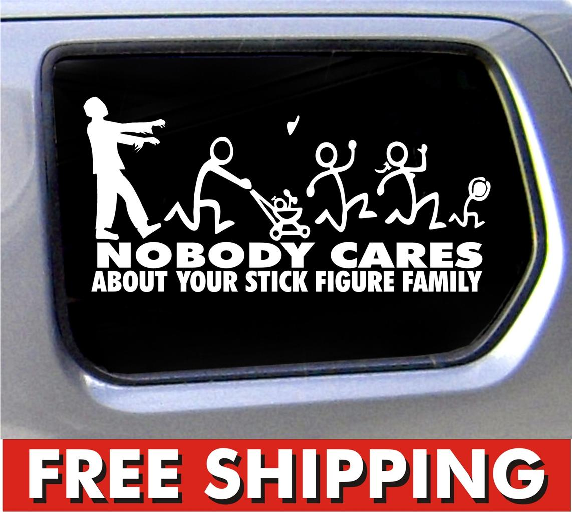 Zombie Stick Figure Family Vinyl Sticker Nobody Cares Truck Funny - Family decal stickers for cars