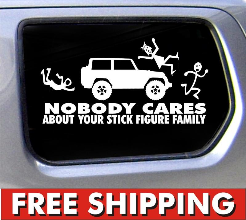 Nobody Cares Stick Figure Family Sticker For Jeep Car Vinyl - Family car sticker decalsfamily car decals ebay