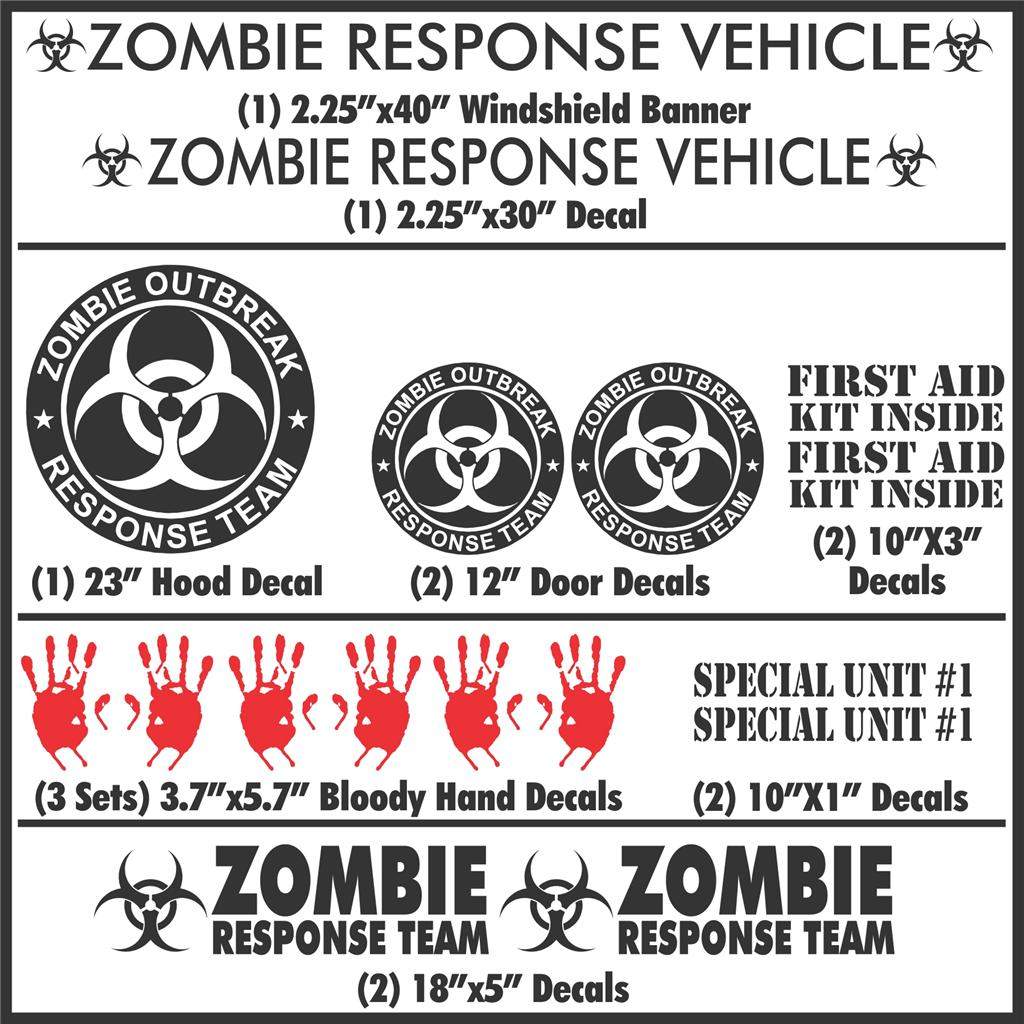 Zombie Outbreak Response Team 17 Piece Black Vehicle Decal
