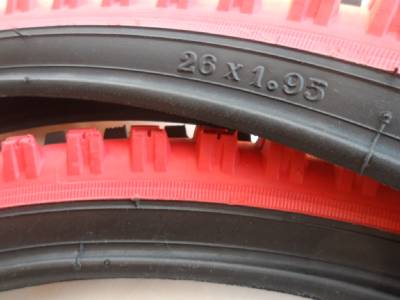 """26x1.95 Black Red Bicycle Knobby Tires Tubes Mountain Bike 26/"""" NEW 26x1.95"""