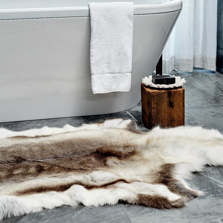Scandinavian REINDEER Beige Hide Skin Throw Fur Rug