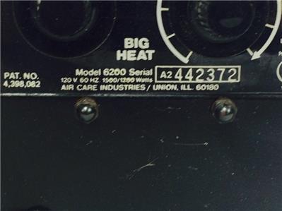 Big Heat Portable Electric Heater Model 6200 Small Fan