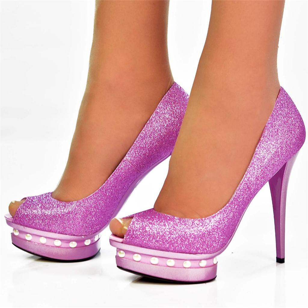 NEW Size UK 8 Purple Glitter Sparkly Pearl High Heels
