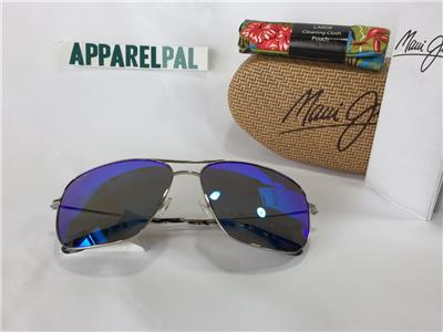 17d72321e21 New Maui Jim Breezeway Polarized Titanium Sunglasses B773-17 Silver Blue  Hawaii