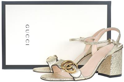 aa26e30878c NEW GUCCI MARMONT DOUBLE G METALLIC LAMINATE LEATHER MID-HEEL SANDALS SHOES  35