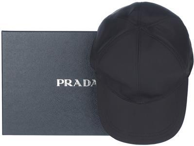 4eec686037e NEW PRADA BLACK TECHNO TESSUTO SAFFIANO LEATHER BASEBALL CAP HAT M MEDIUM
