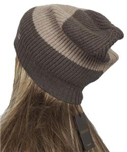 dee7d8646a7a2 NEW GUCCI BEIGE SMOKY BROWN WEB WOOL INTERLOCKING LOGO BEANIE HAT ONE SIZE