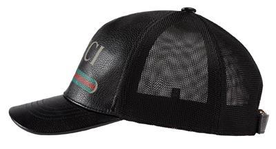 54ba2f09b2f NEW GUCCI BLACK LEATHER VINTAGE PRINT LOGO BASEBALL HAT CAP 59 LARGE UNIS