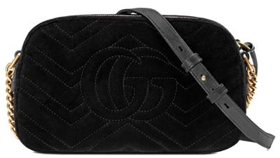 6bc58ae1f4b9 NEW GUCCI CURRENT GG MARMONT BLACK CHEVRON EMBROIDERED SHOULDER CROSSBODY  BAG