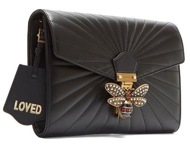 Details about NEW GUCCI QUEEN MARGARET BLACK MATELASSE CHEVRON LEATHER BEE  CLUTCH BAG