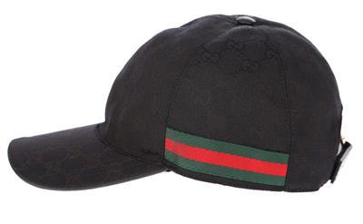 286ebf8ef28 NEW GUCCI BLACK ORIGINAL GG CANVAS WEB DETAIL BASEBALL CAP HAT 58 MEDIUM  UNISEX