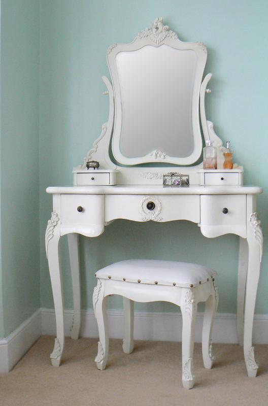 quality design f87dd 8c073 FRENCH ANTIQUE WHITE DRESSING TABLE AND STOOL SET on The Hunt