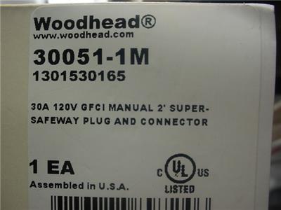 NEW Woodhead Molex SAFE-T-CHEK WATERTITE GFCI 120V 30A PLUG /& Connector 30051-M1