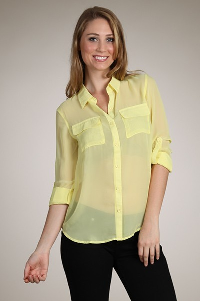 08d5bd055 Solid Colors Sheer Chiffon Blouse Button Down Shirt Asym Hi-Low Hem Relaxed  Top