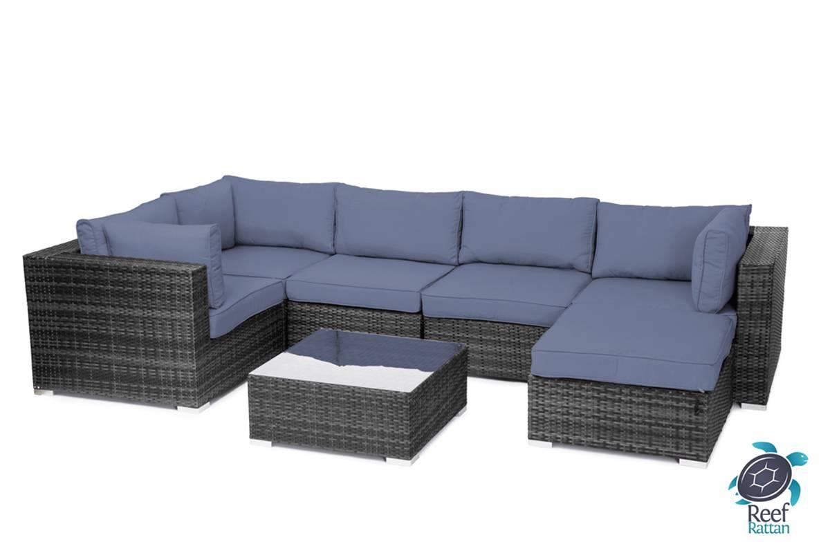 outdoor garden furniture 7pc sectional sofa grey rattan sunbrella fabric choices ebay. Black Bedroom Furniture Sets. Home Design Ideas