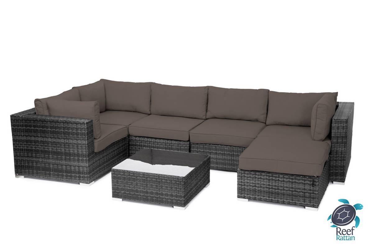 Outdoor Garden Furniture 7Pc Sectional Sofa Grey Rattan