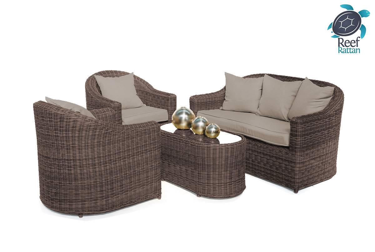 Brown Garden Furniture Sets: Outdoor Patio Rattan Furniture Conversation Set Brown W