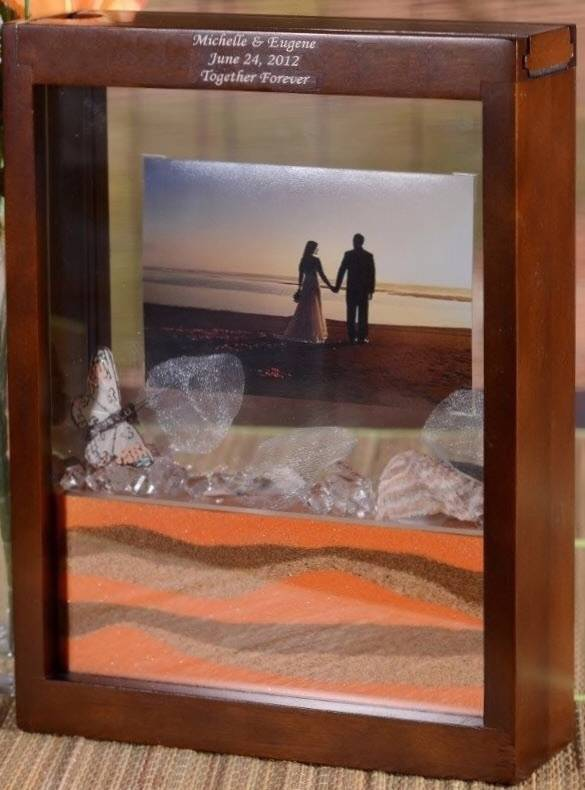 Wedding Unity Sand Ceremony Frame Sand Won T Mix Walnut Ebay