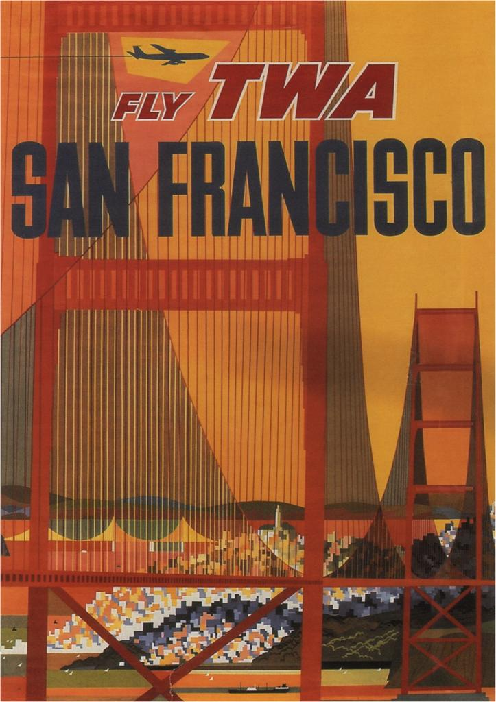 Fly TWA San Francisco 1970 Vintage Airline Poster USA SG4571 | eBay
