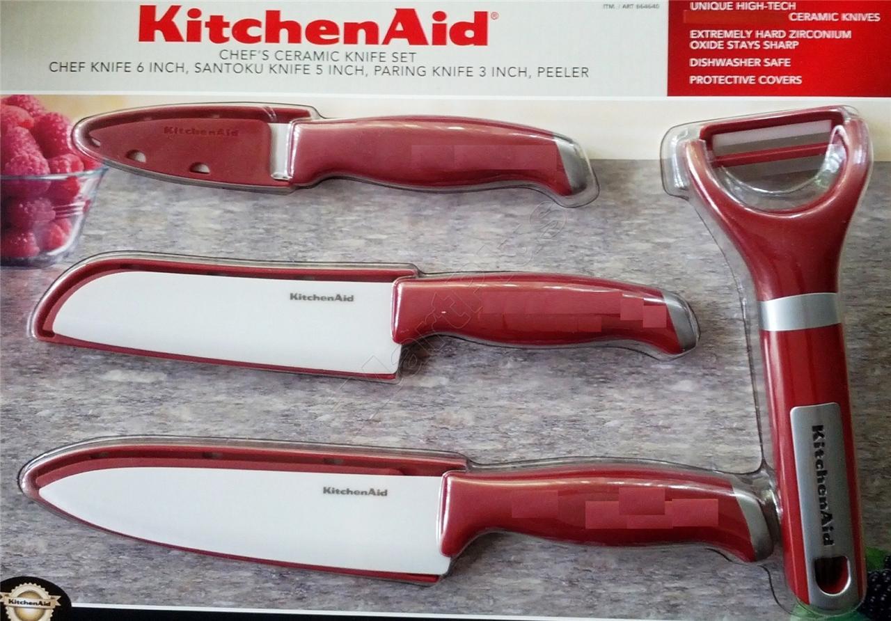 Kitchenaid Ceramic Knife 4 Pc Set Blade Peeler Kitchen Aid