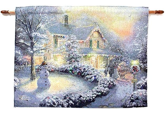 Kinkade Fiber Optic Tapestry Heart Of Christmas And Home