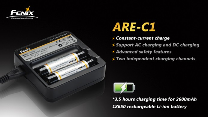 Genuine  Fenix ARE-C1 Charger w// Two Fenix ARB-L2 18650 Batteries /& Car adapter