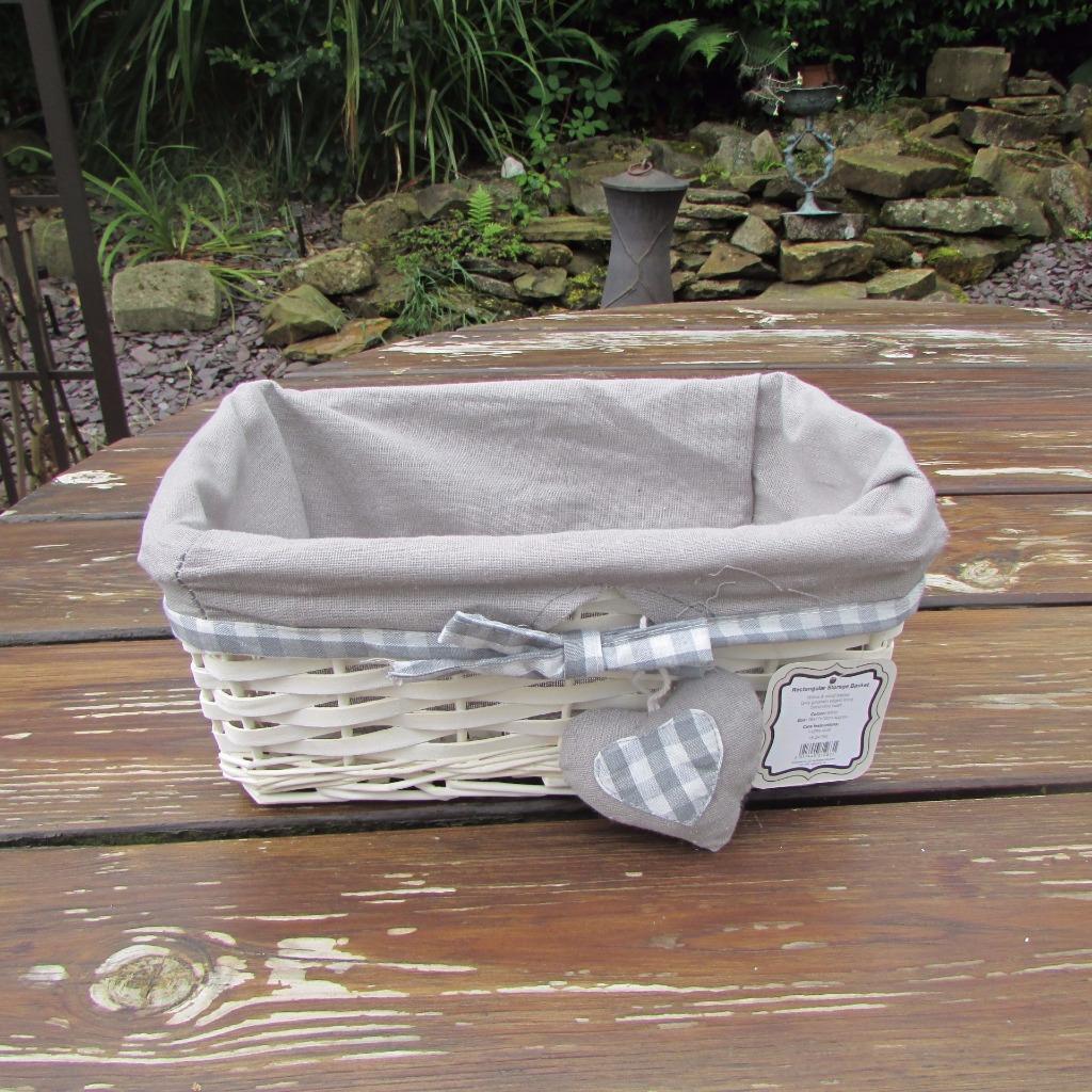 Grey Wash Wicker Storage Basket: GREY GINGHAM HEART WHITE WICKER LAUNDRY BASKET ROUND LINEN