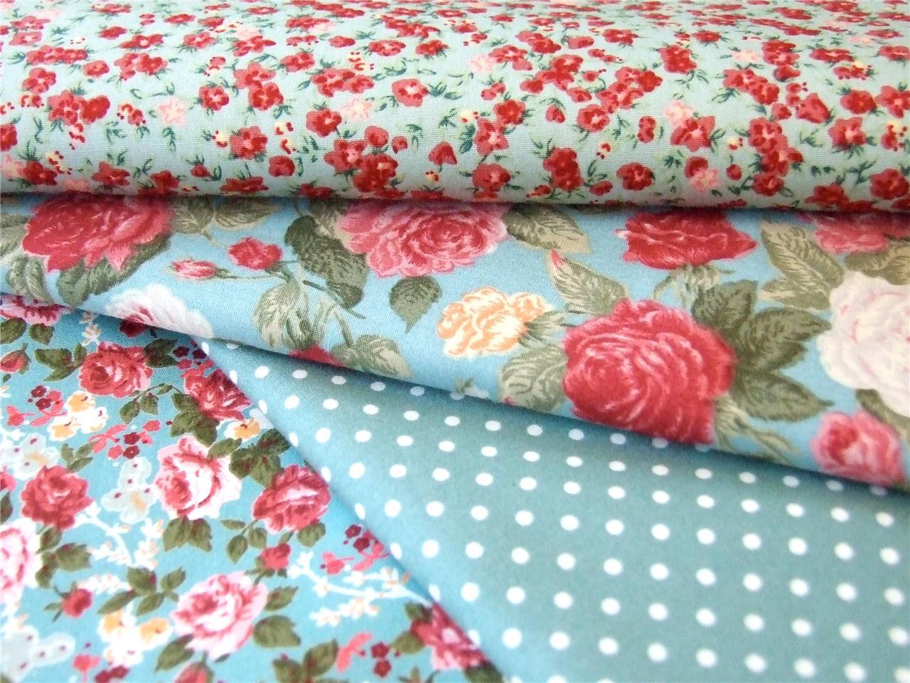 FQ / Meter 100% cotton Autumn GREEN Rose Vintage floral ... |Vintage Floral Fabric