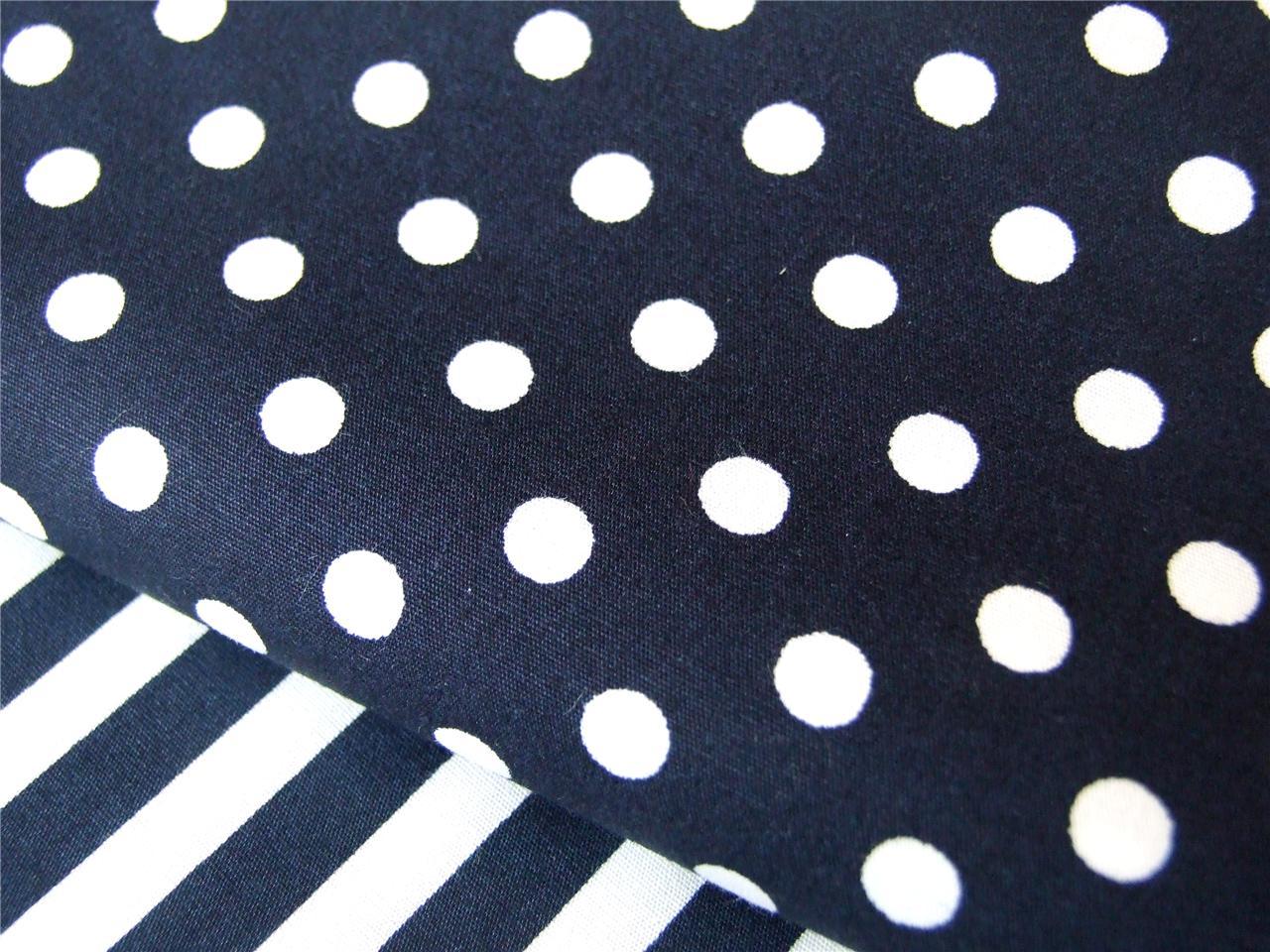 Pale Blue Navy Spotty Polka Dot Cotton Fabric For Dress