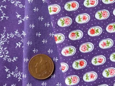 Violet ruban fleuri vintage en tissu de coton fleur Cameo-Craft Bunting robe