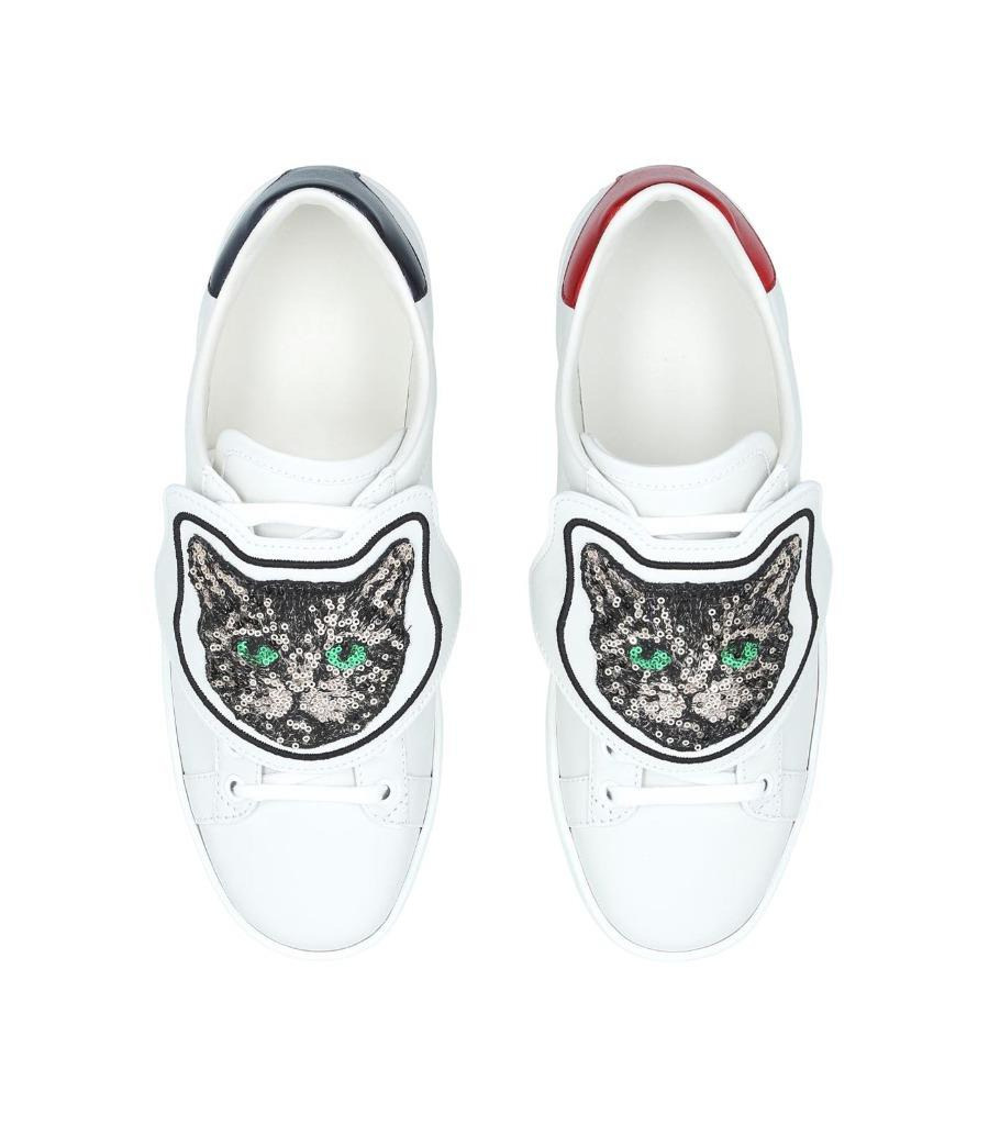 Aceweb details about new gucci ace web removable cat patches sneakers shoes 40/us  10
