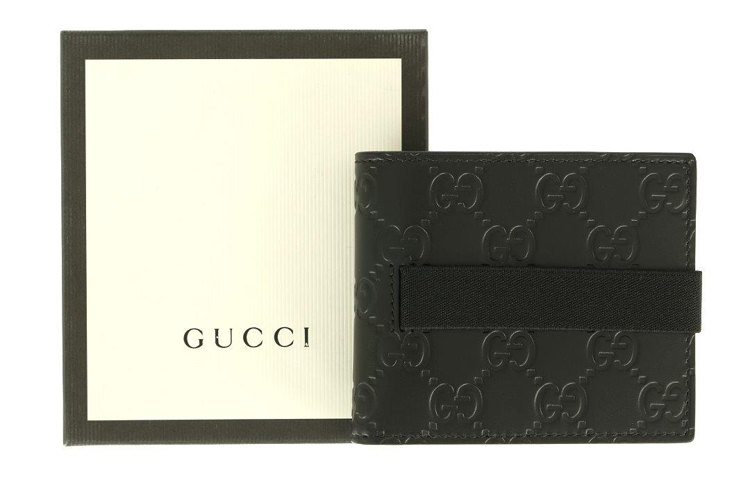 008eb36d5d54 100% AUTHENTICITY GUARANTEED. LUXURY QUALITY BLACK COLOR GG GUCCISSIMA  PRINT 100% LEATHER BE-FOLD, ELASTIC CLOSURE. INSIDE 8 CREDIT CARD SLOTS.  GUCCI MADE ...