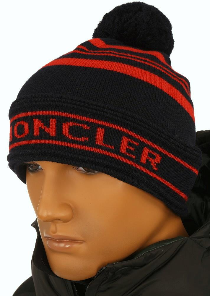 78cc832ca3f NEW WITH TAG AUTHENTICITY CODE AND DUST BAG MONCLER HAT. MADE IN ITALY.  100% AUTHENTICITY GUARANTEED. LUXURY QUALITY NAVY BLUE RED COLOR KNIT  TEXTURE. POM ...