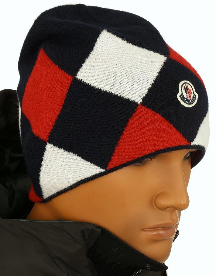 0a18832f7 Details about NEW MONCLER MEN S LUXURY DOUBLE LAYERED 100% WOOL LOGO BEANIE  HAT ONE SIZE
