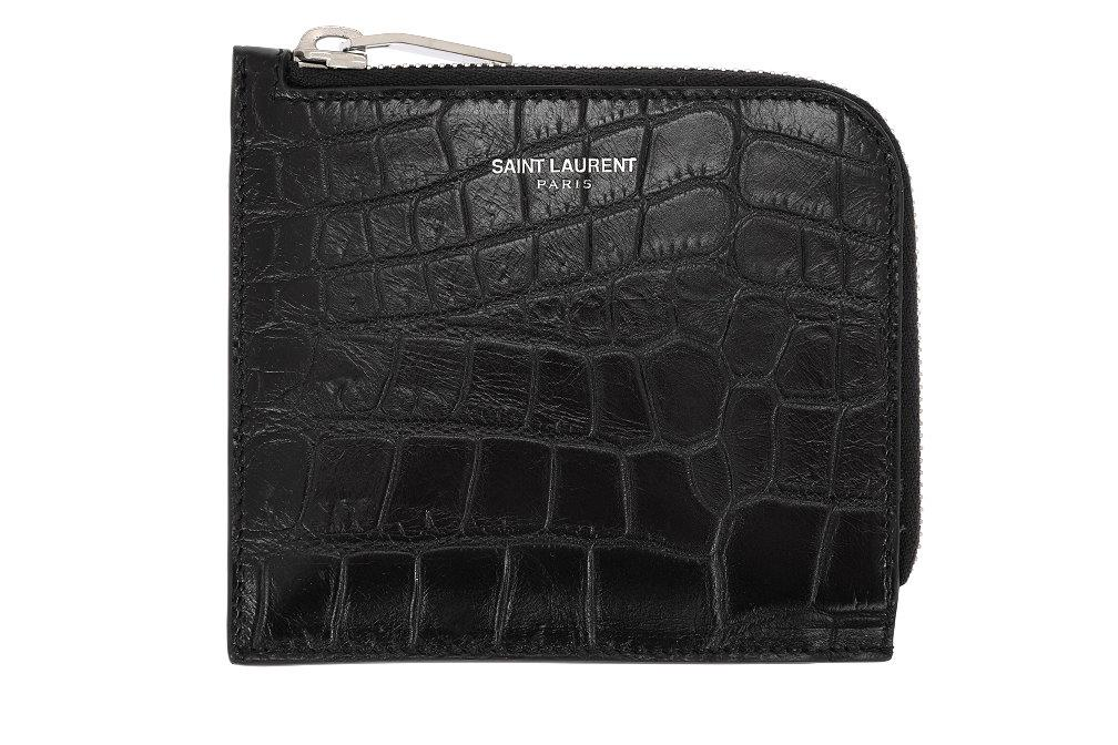 0f35df99f6d Details about NEW YSL SAINT LAURENT BLACK CROC EMBOSSED ZIP AROUND WALLET  CARD HOLDER W/BOX